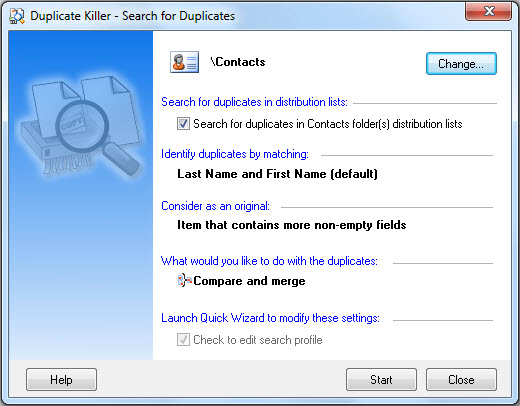 Search, merge and remove Outlook duplicates