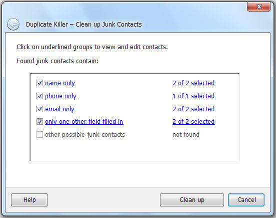 Review, edit and save Junk Contacts or delete them